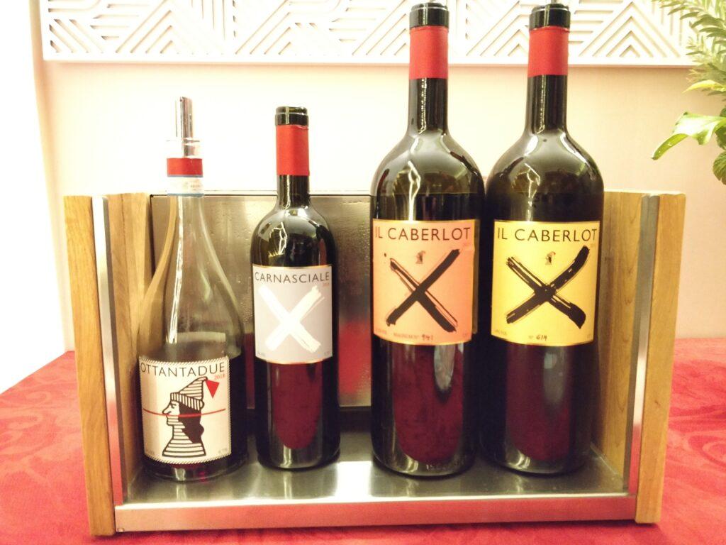 Quatre des cinq vins du domaine Podere Il Carnasciale dégusté ce soir là